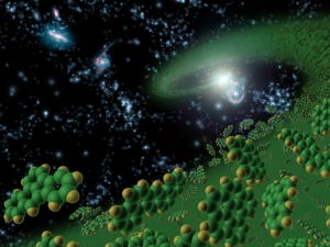 This artist's conception symbolically represents complex organic molecules, known as polycyclic aromatic hydrocarbons, seen in the early universe. These large molecules, comprised of carbon and hydrogen, are among the building blocks of life. NASA's Spitzer Space Telescope is the first telescope to see polycyclic aromatic hydrocarbons so early--10 billion years further back in time than seen previously. Spitzer detected these molecules in galaxies when our universe was one-fourth of its current age of about 14 billion years. These complex molecules are very common on Earth and form carbon-based materials are not burned completely. They can be found in sooty exhaust from cars and airplanes, and in charcoal broiled hamburgers and burnt toast. Polycyclic aromatic hydrocarbons are pervasive in galaxies like our own Milky Way, and play a significant role in star and planet formation.   Image Credit: NASA/JPL-Caltech/T. Pyle (SSC)